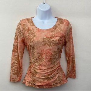 🎉3/$20 Axcess Pink & Tan Blouse Size SP R-87